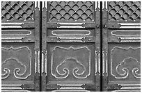 Door detail, imperial architecture, Forbidden City. Beijing, China ( black and white)