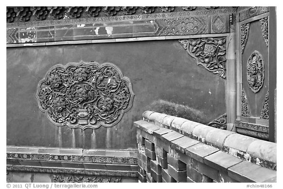 Wall detail with blazed building decoration, Forbidden City. Beijing, China (black and white)
