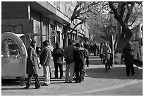 People on sidewalk. Beijing, China ( black and white)
