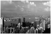 View from Victoria Peak, late afternoon. Hong-Kong, China (black and white)