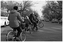Bicyles and cyclo on street. Beijing, China ( black and white)