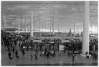 Interior of Norman Foster designed terminal 3, International Airport. Beijing, China ( black and white)