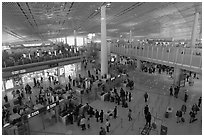 Security check area, Capital International Airport. Beijing, China ( black and white)