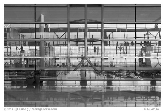 Reflections in glass and marble, Capital International Airport. Beijing, China (black and white)