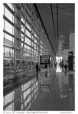 Departure area, Capital International Airport. Beijing, China (black and white)