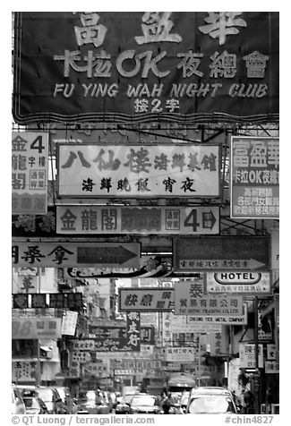 Street filled up with signs in Chinese, Kowloon. Hong-Kong, China (black and white)