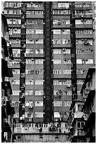 High-rise residential building in a popular district, Kowloon. Hong-Kong, China ( black and white)