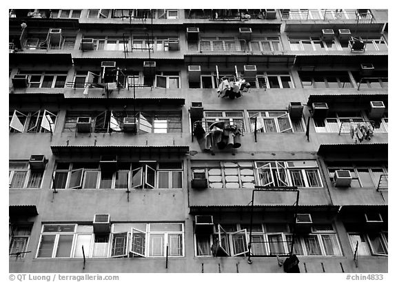 Detail of high-rise residential building in a popular district, Kowloon. Hong-Kong, China (black and white)
