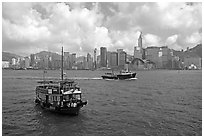 Ferries in the busy Hong-Kong harbor. Hong-Kong, China (black and white)
