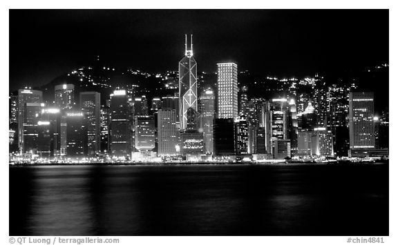 Black and white picture photo hong kong island skyline across the harbor by night hong kong china