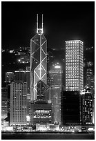Bank of China (369m) and Cheung Kong Center (290m) buildings  across  harbor by night. Hong-Kong, China ( black and white)
