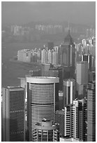 Modern high-rise buildings  from Victoria Peak, late afternoon, Hong-Kong Island. Hong-Kong, China (black and white)