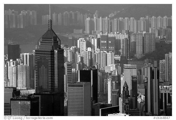 Skycrapers from Victoria Peak, late afternoon, Hong-Kong Island. Hong-Kong, China (black and white)