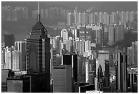 Skycrapers from Victoria Peak, late afternoon, Hong-Kong Island. Hong-Kong, China ( black and white)