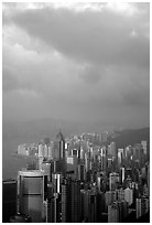 Hong-Kong citiscape from Victoria Peak, sunset. Hong-Kong, China (black and white)
