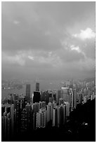 Hong-Kong Island from Victoria Peak, sunset. Hong-Kong, China (black and white)