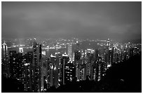 Hong-Kong lights from Victoria Peak at night. Hong-Kong, China ( black and white)
