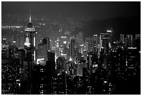 Hong-Kong citiscape from Victoria Peak at night. Hong-Kong, China (black and white)