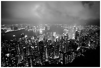Hong-Kong night citiscape lights from Victoria Peak. Hong-Kong, China (black and white)