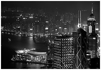 High-rise lights from Victoria Peak at night. Hong-Kong, China (black and white)