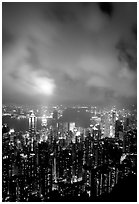 Highrise Hong-Kong lights from Victoria Peak at night. Hong-Kong, China ( black and white)