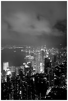 Hong-Kong city lights from Victoria Peak. Hong-Kong, China ( black and white)