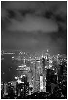 Skycraper Hong-Kong city lights from Victoria Peak at night. Hong-Kong, China (black and white)