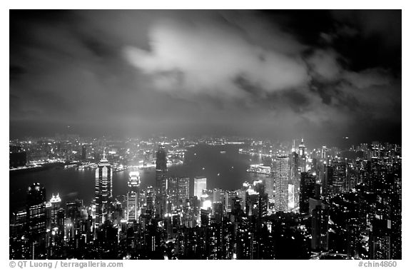 Skycrapers from Victoria Peak at night. Hong-Kong, China (black and white)