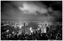 Skycrapers from Victoria Peak at night. Hong-Kong, China ( black and white)