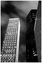 Cheung Kong Center (290m) building at night. Hong-Kong, China (black and white)