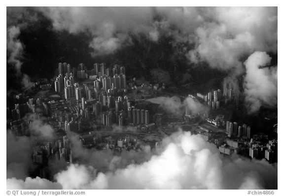 Aerial view of Kowloon. Hong-Kong, China
