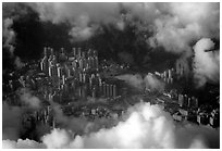 Aerial view of Kowloon. Hong-Kong, China ( black and white)