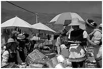 Monday village market. Shaping, Yunnan, China (black and white)
