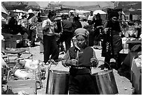 Bai woman at the Monday market. Shaping, Yunnan, China (black and white)