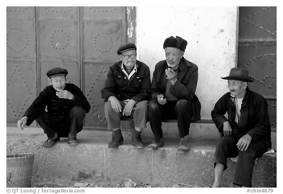 Black And White Picture Photo Elderly Men Shaping Yunnan China