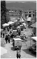 Market and village. Shaping, Yunnan, China ( black and white)
