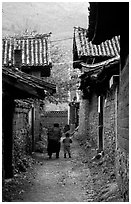 Village streets. Baisha, Yunnan, China ( black and white)