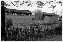 Traditional rural houses. Baisha, Yunnan, China (black and white)