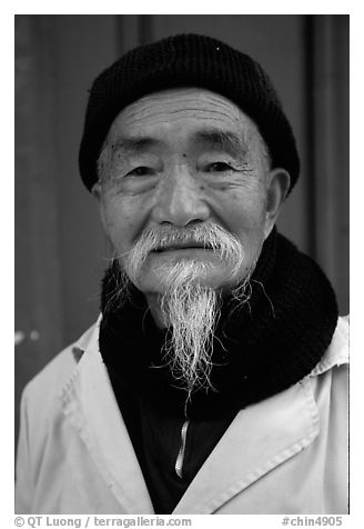 Dr Ho, famous herborist doctor. Baisha, Yunnan, China (black and white)