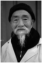 Dr Ho, famous herborist doctor. Baisha, Yunnan, China ( black and white)