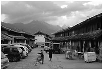 Main village plaza. Baisha, Yunnan, China ( black and white)