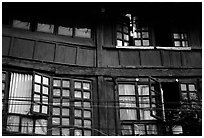 Detail of old wooden house. Kunming, Yunnan, China (black and white)