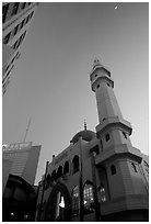 Nancheng Mosque built recently, a hybrid of white-tiled high rise with a mosque's green onion domes. Kunming, Yunnan, China (black and white)