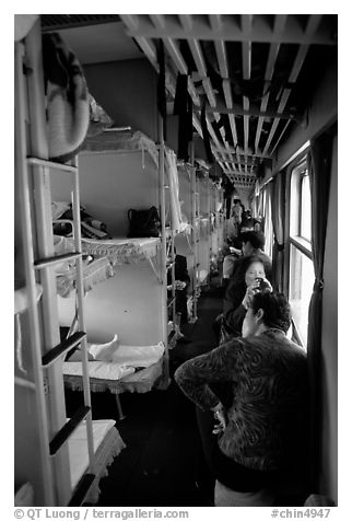 Inside a hard sleeper car train.