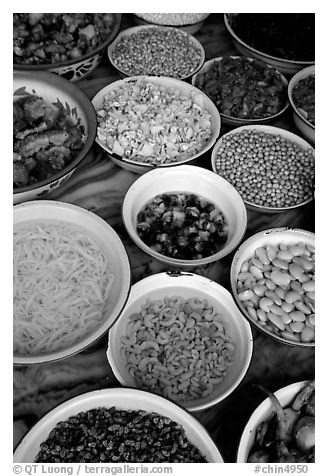 Black and white picture photo food ingredients in bowls