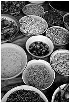 food ingredients in bowls. (black and white)