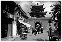 Wuhua Lou gate. Dali, Yunnan, China (black and white)