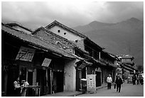 Old houses and Cang Shan mountains. Dali, Yunnan, China ( black and white)