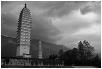 Quianxun Pagoda, the tallest of the Three Pagodas. Dali, Yunnan, China (black and white)