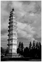 One of the two 10-tiered pagodas flanking Quianxun Pagoda. Dali, Yunnan, China (black and white)